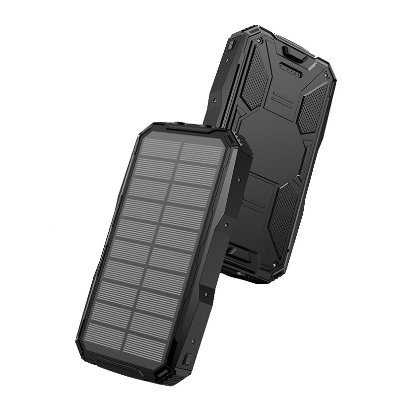 Banco de energía Solar 20000mAh banco de energía para Xiaomi iPhone Samsung 2 USB cargador portátil batería externa Poverbank con linterna