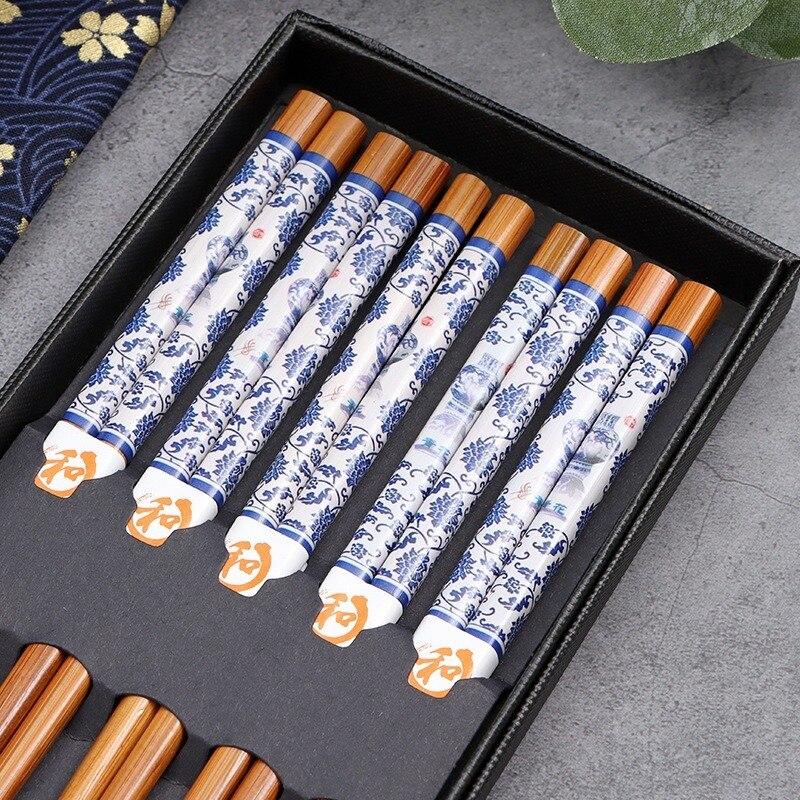 5 زوج/مجموعة الصينية الأزرق والأبيض متفحمة الخيزران مجموعة المنزلية عيدان الخشب قابلة لإعادة الاستخدام سوشي ياباني عيدان مضادة