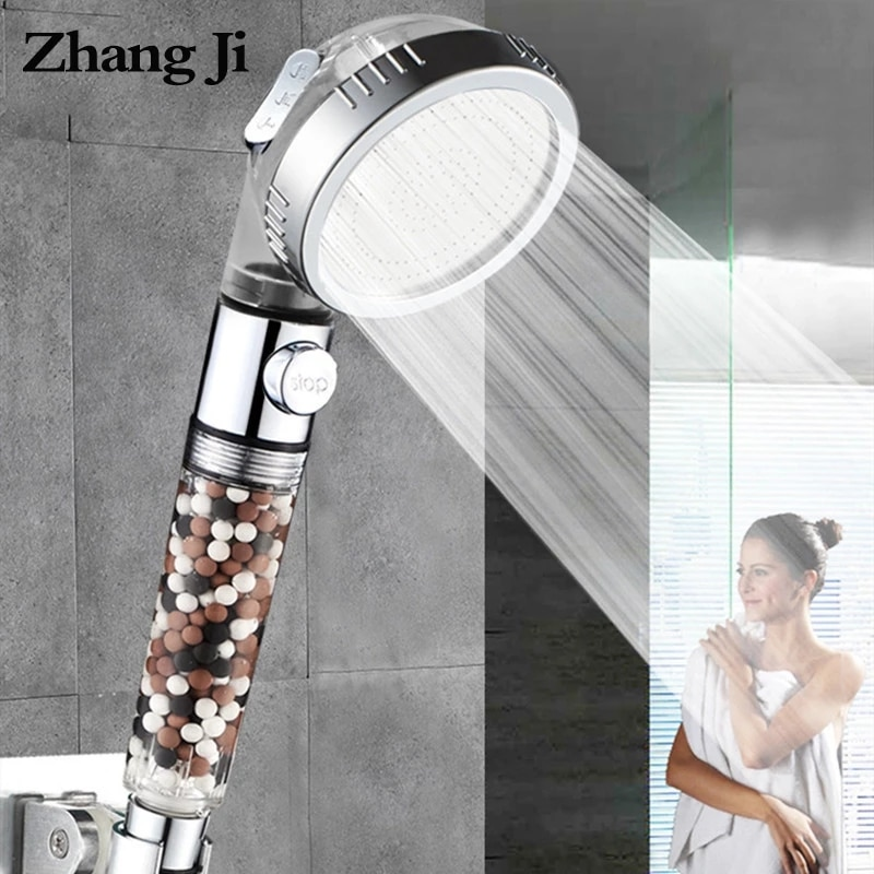 ZhangJi Bathroom 3-Function SPA shower head with switch on/off button high Pressure Anion Filter Bat