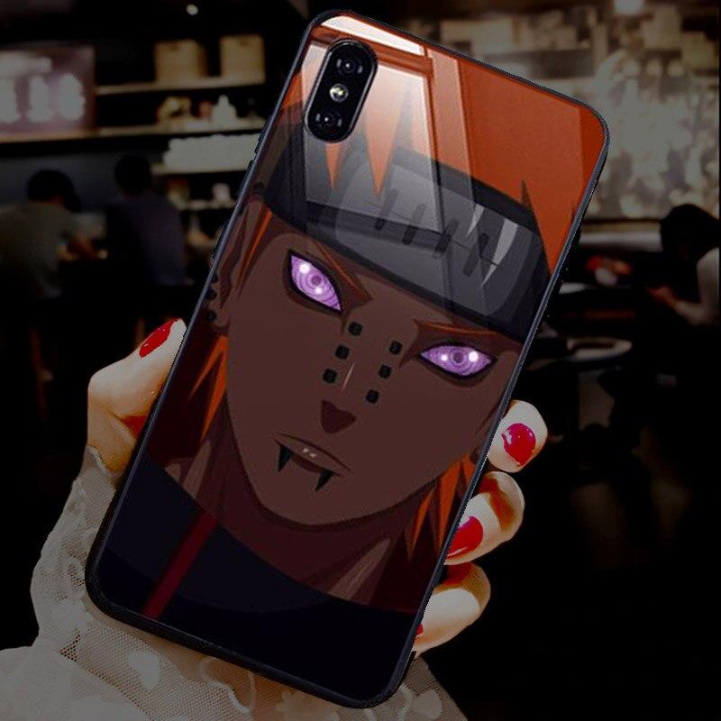 Douleur Kurama appel lumière étui pour iPhone11 pro 8 7 6 6S Plus X XS MAX XR LED étuis en verre trempé Coque Anime Naruto Flash couverture
