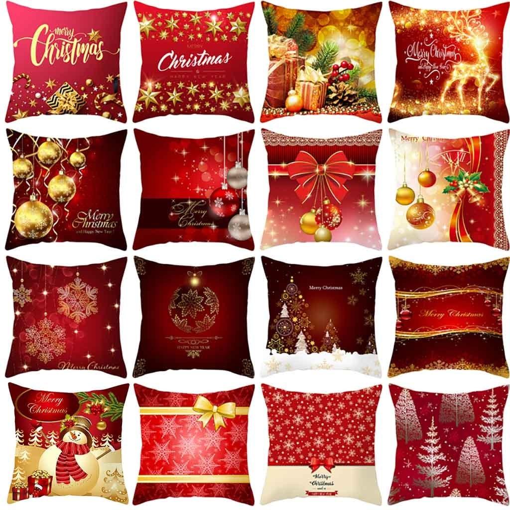Feliz Navidad funda de cojín funda de almohada ornamento rojo navideño para regalo de Casa decoración de Navidad sofá coche decoración almohadas cubierta