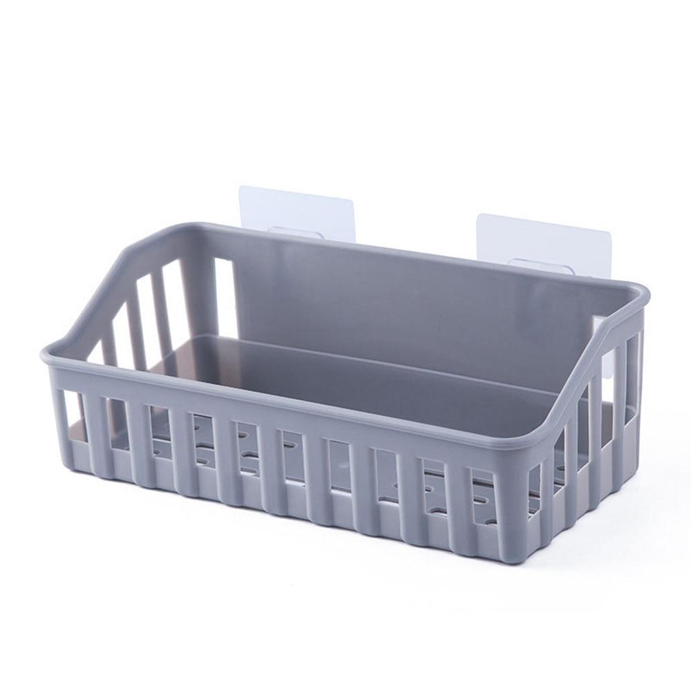 Adhesive Basket Bathroom Shower Plastic Shelf Holder Storage Rack Wall-mounted seamless storage rack The space is large