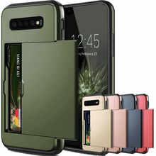 For Samsung Galaxy S10 Plus S10E S10 5G S9 S8 S7 S6 Edge S5 Case Slide Armor Wallet Card Slots Holder Cover For Samsung Note 9 8