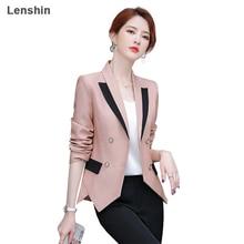 Lenshin Women Elegant Patchwork Jacket Full sleeve Blazer Fashion Work Wear Keep Slim Office Lady Co