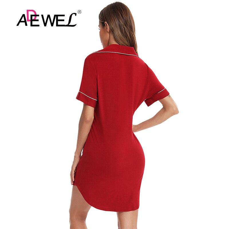 ADEWEL 2021 Cardigan Solid Color Black Plus Size Shirt Collar Nightdress Chemise De Nuit Femme Sukienka Damska Koszula Nocna 2XL