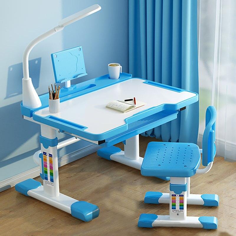 مقعد ومكتب للأطفال مع إمالة سطح المكتب ، مصباح ليد ودرج للأطفال وظيفية للأطفال دراسة طاولة كتابة طقم مكتب