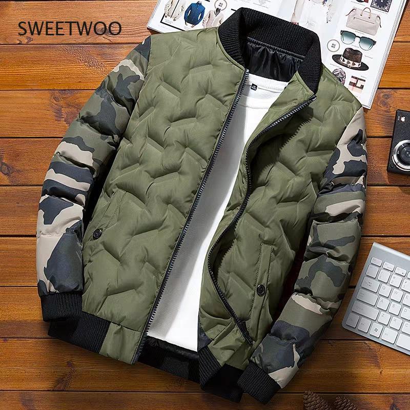 Мужские зимние пальто, верхняя одежда, камуфляжная куртка-бомбер, толстые теплые куртки в стиле «милитари» 2021