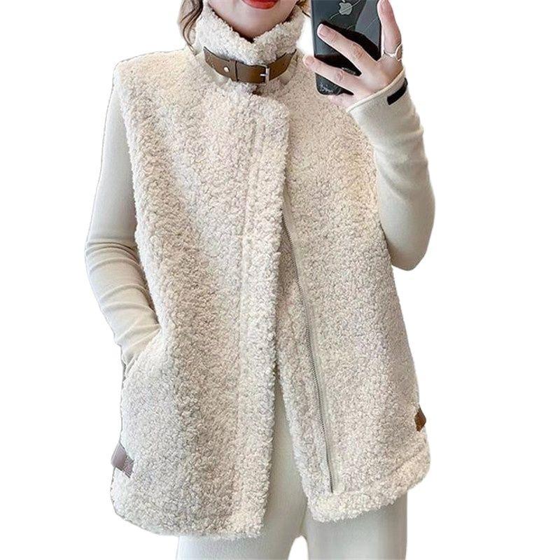 2021 женский демисезонный кашемировый жилет больших размеров, модные корейские куртки без рукавов, жилет, зимний жилет из искусственного мех...