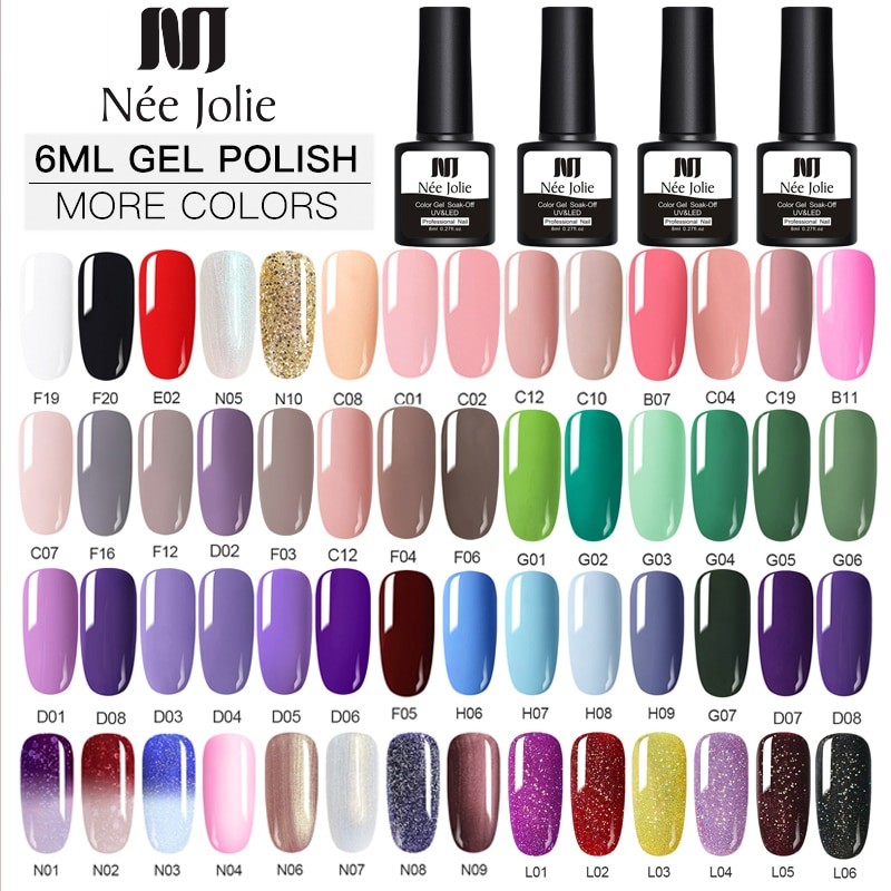 NEE JOLIE Gel esmalte de UV Vernis capa superior semipermanente abrigo 8ML Gel de uñas arte de esmalte de uñas de Gel de esmaltes de uñas