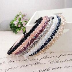 Brilhante 1 pc feminino luxo strass elegante hairband bandana de cabelo accessoreis meninas cristal bezel coreano headwear cabelo hoop