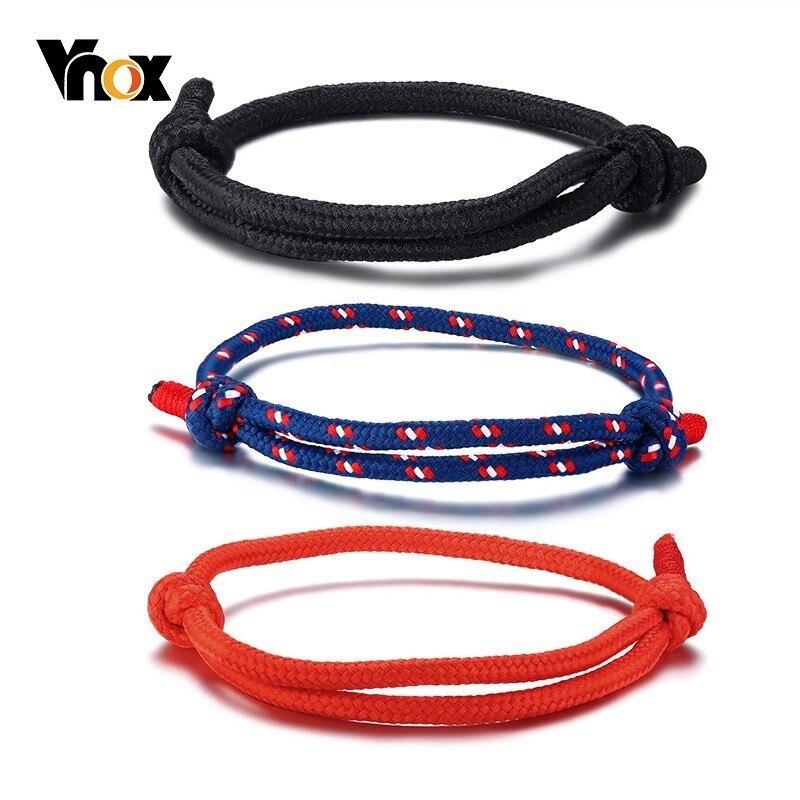 Vnox 3 Pçs/set Casuais de Esportes Pulseiras de Corda para As Mulheres Homens Crianças Unisex Handmade Trança Tribal Acessórios bilezik