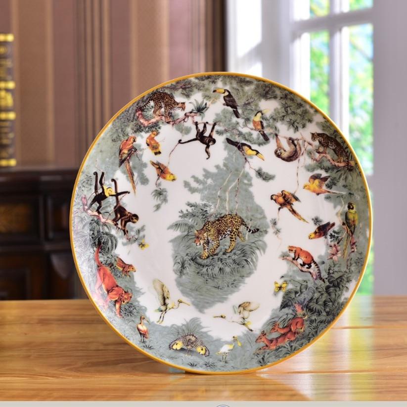 الفاخرة الزخرفية الغابات الحيوانات لوحات الخزف تخدم طبق عشاء صينية للفاكهة شخصية طبق سيراميك ديكور مطبخ هدايا