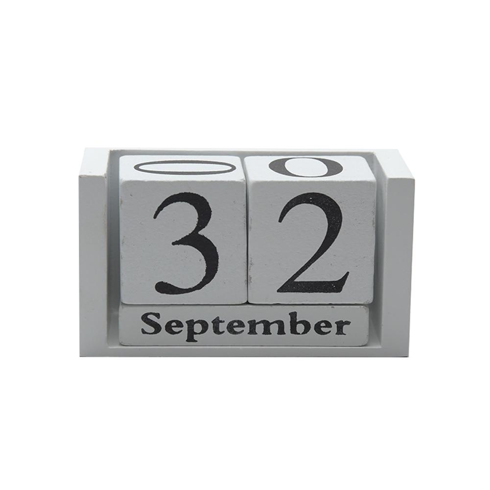 Gifts Month Date Display Home Office Decor DIY Living Room Desktop Wood Calendar Wood Block Desk Decoration Reusable Planner