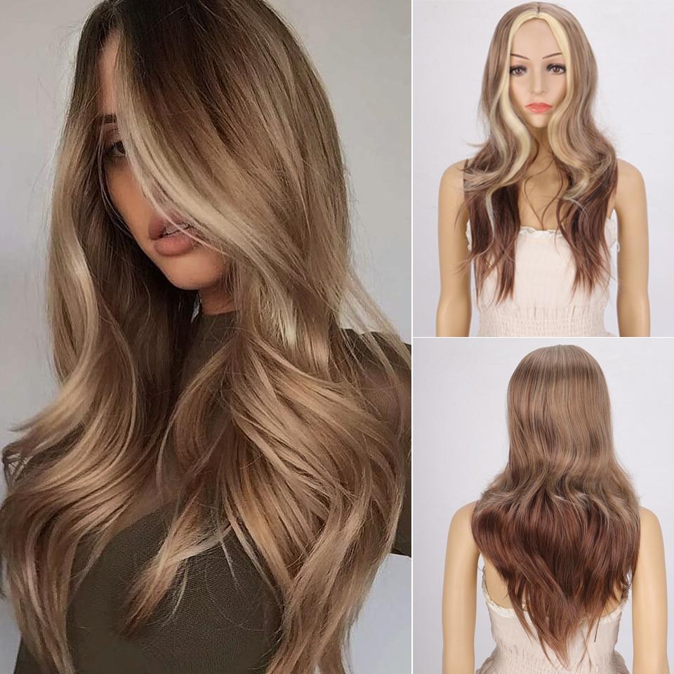 Peluca LVHAN larga ondulada, ombré Rubio, pelucas sintéticas de platino para mujeres africanas americanas, Peluca de parte media Natural de dos tonos
