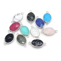 natural stone pendant links oval crystal agates turquoises amethysts stone charm connectors for jewelry making necklace earring