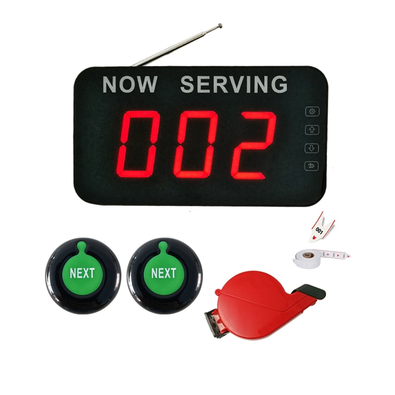 3-digit LED Queue Display with Next Control Button Ticket Dispenser Wireless Restaurant Take a Number Calling System