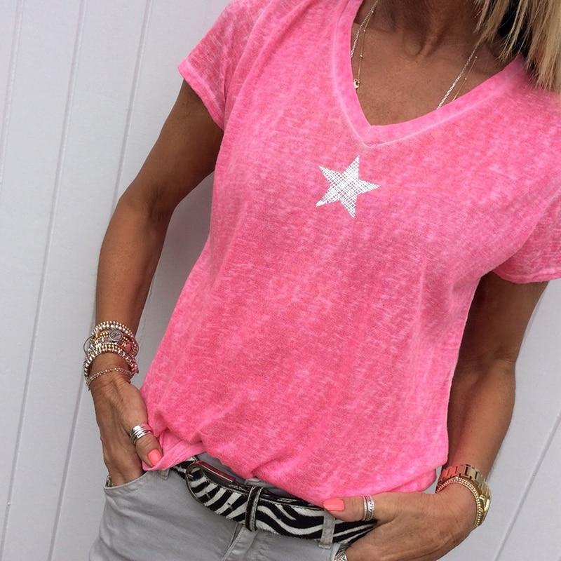 Nueva camiseta a la moda para mujer, camisetas de lentejuelas con cuello en V y estrella de cinco puntas, camisetas femeninas de manga corta para mujeres de calle de talla grande, código S-5XL