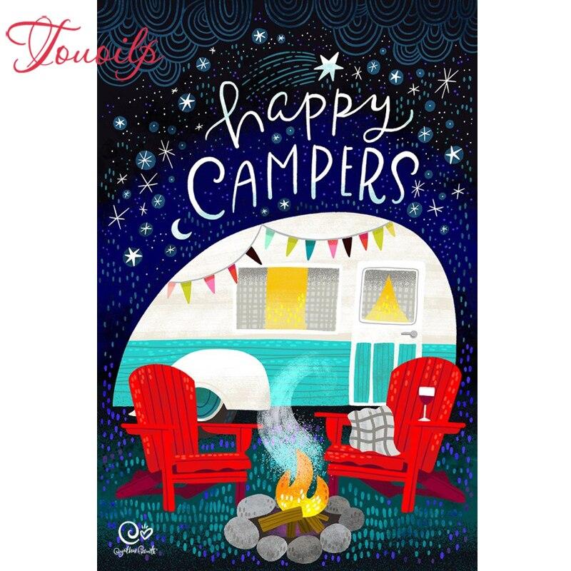 Touoil-لوحة ألماس ثلاثية الأبعاد ، خرز مربعة ومستديرة ، تطريز Happy campers ، غرزة متقاطعة ، فسيفساء ، جدار ، جديد 100%
