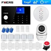 Systeme dalarme de securite Tuya  wi-fi 4G  GSM  camera  application Alexa  clavier tactile  pour maison intelligente  anti-cambriolage  capteur de fumee