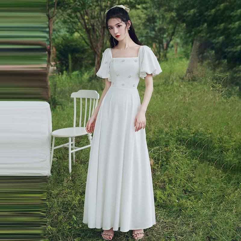 مناسبة خاصة فستان Vintage بياقة مربعة لؤلؤ قصير a-line فاخر أبيض بدون ظهر طول الأرض أنيق للنساء فستان حفلات E938