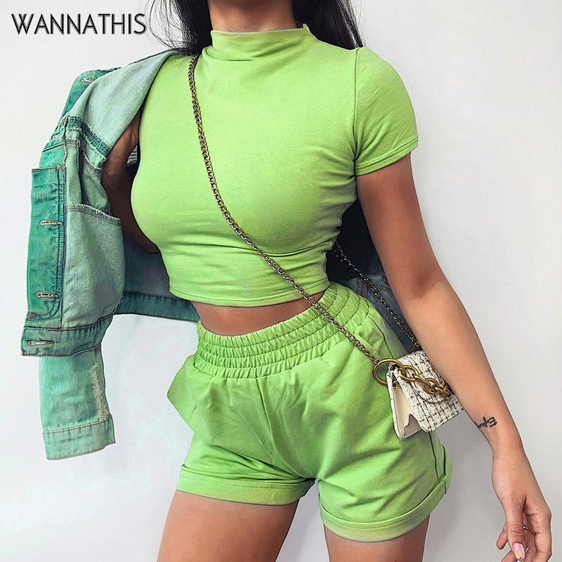 WannaThis Neon Green Women 2 Pieces Sets Tee and Shorts Slim Elastic Hight Waist Mini Fashion Summer Streetwear New