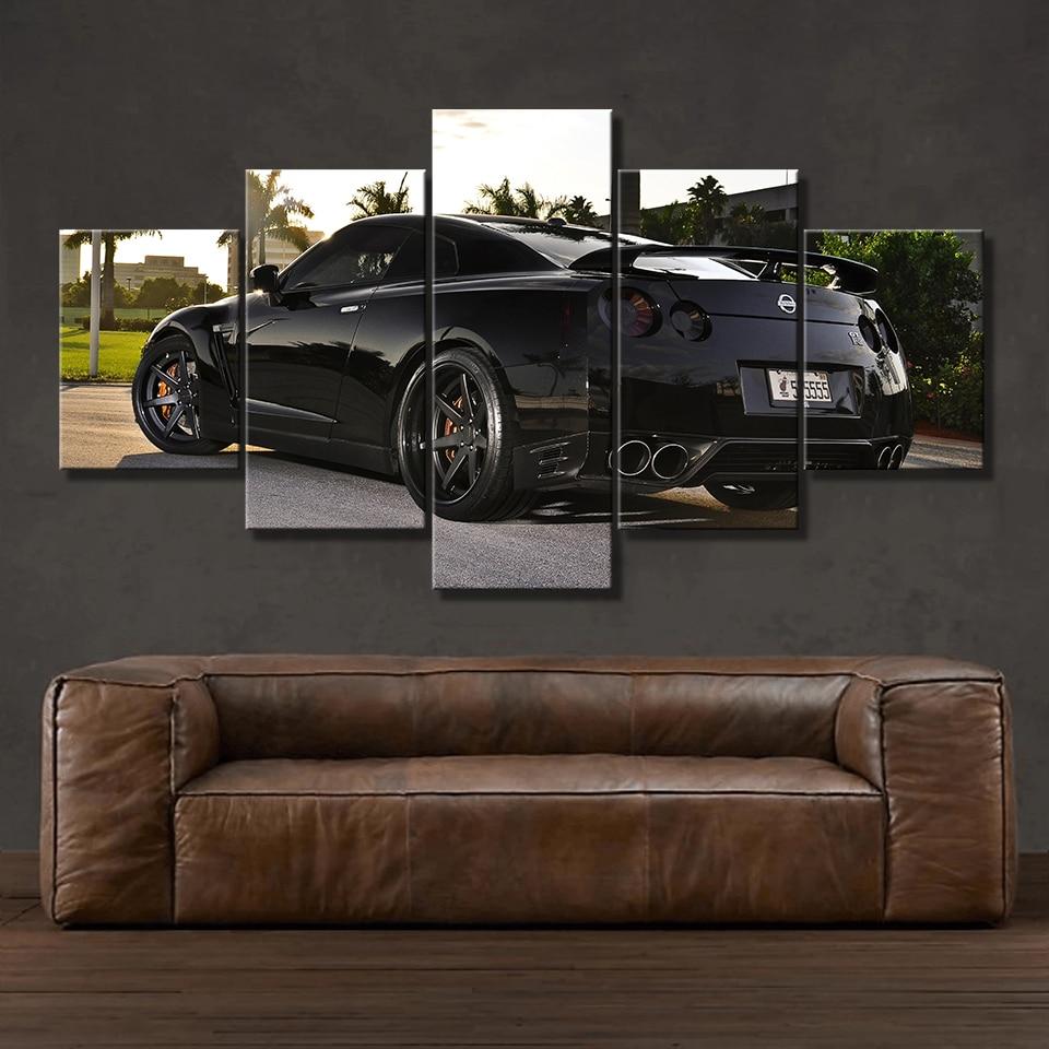 Cuadros de lona con marco de impresión HD arte moderno 5 piezas Nissan Skyline Gtr coche cuadros cabecera hogar Decoración pared arte carteles