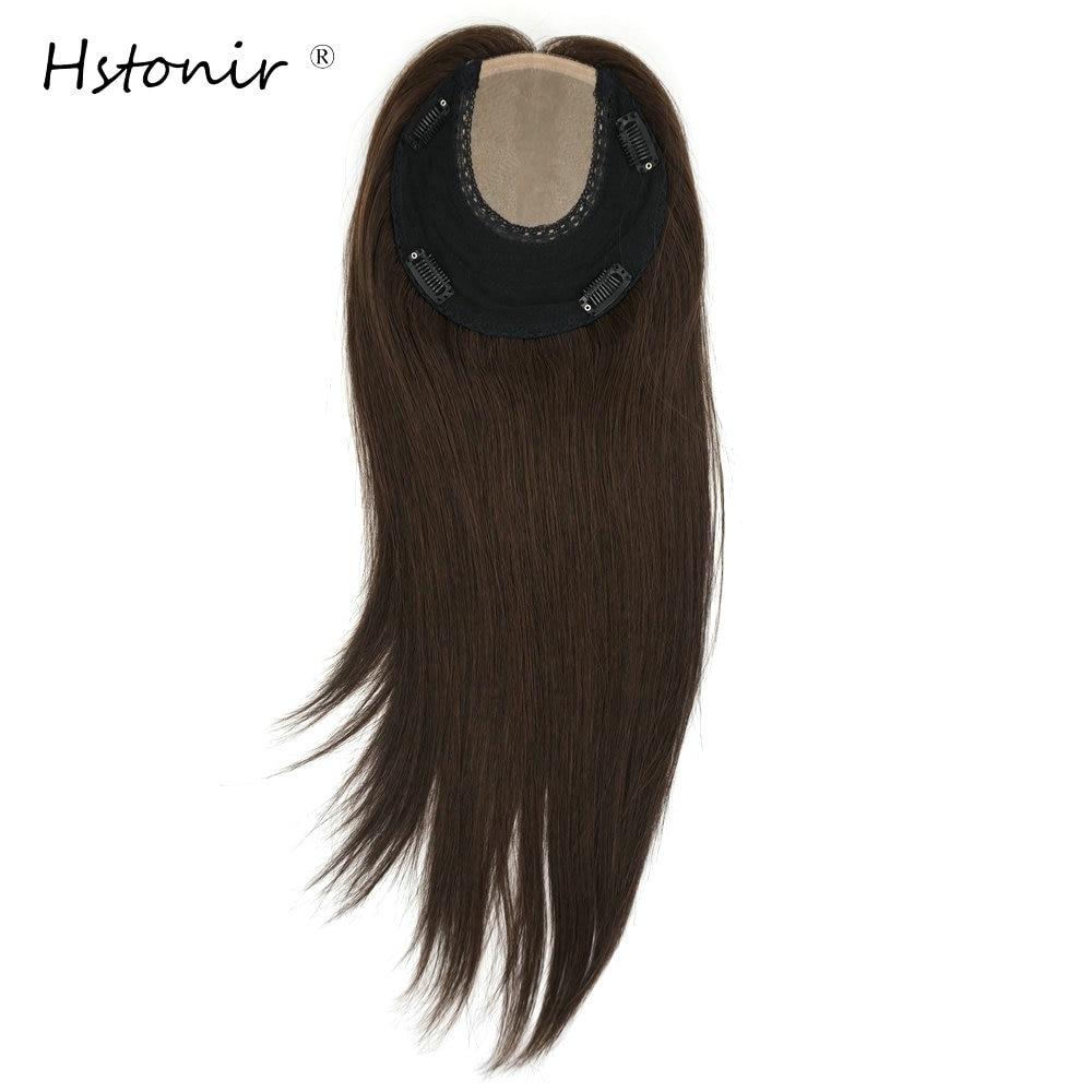 Hstonir European Remy Hair Topper Kosher Toupee Women Crown Wig Hair Piece Wiglet Kippah Fall Silk Base For Jewish TP26