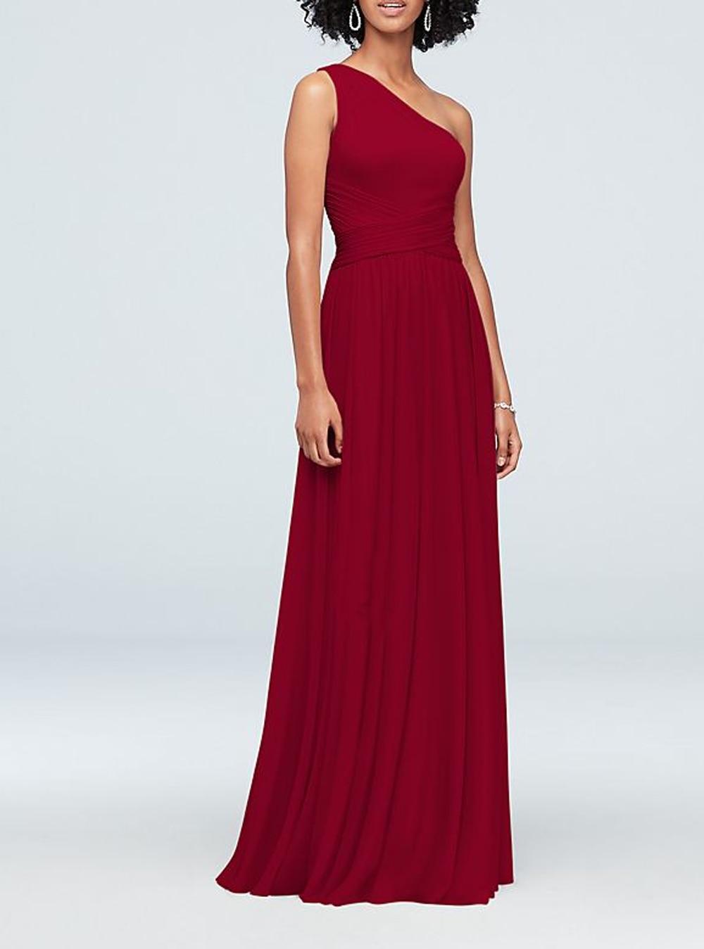 One shoulder Sleeveless Sweep train Burgundy Bridesmaid Dresses Pleat Chiffon Party Dresses