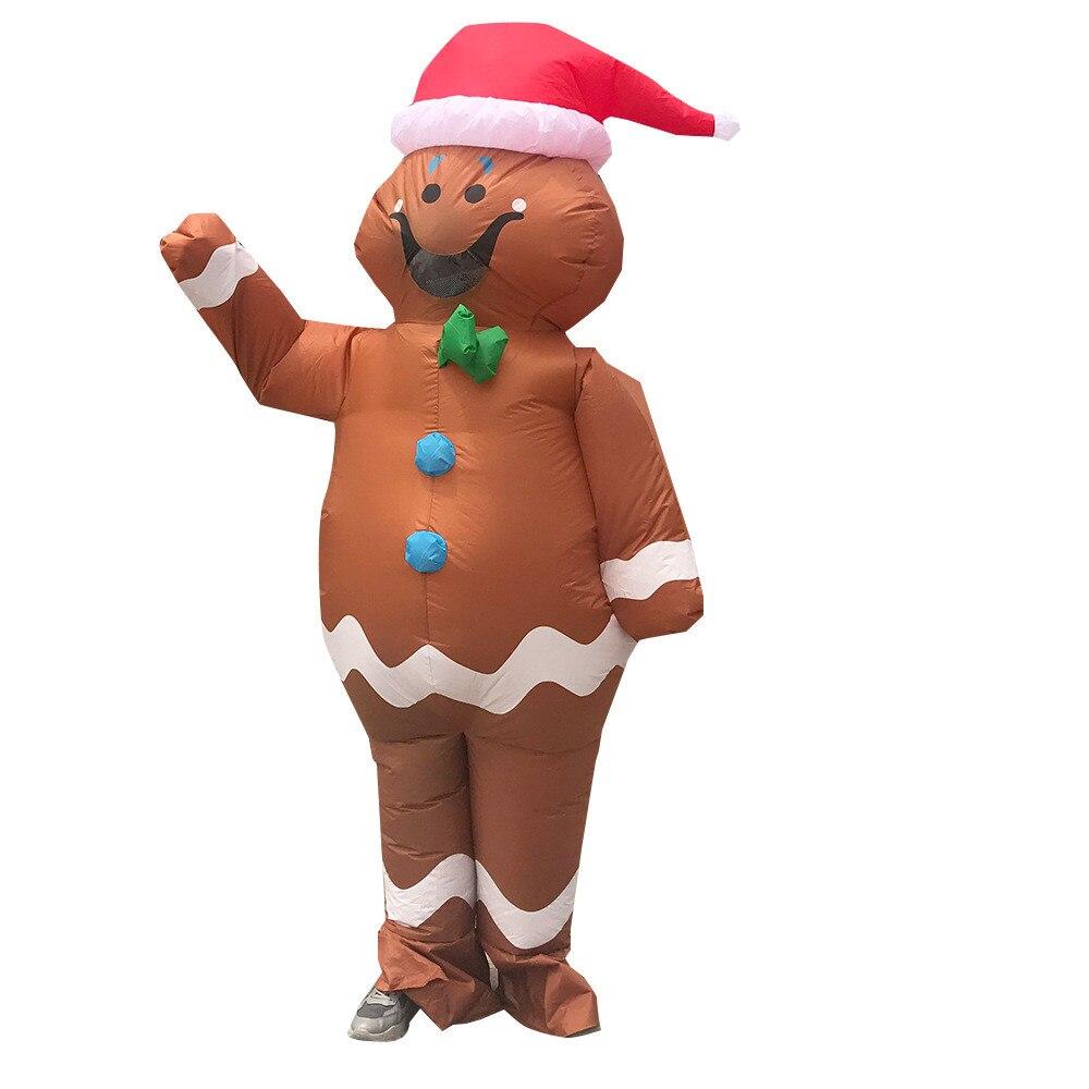 Novedad de 2020, disfraz inflable de hombre de jengibre, disfraz de Halloween, juego de rol, divertida fiesta de Navidad para adulto, Unisex