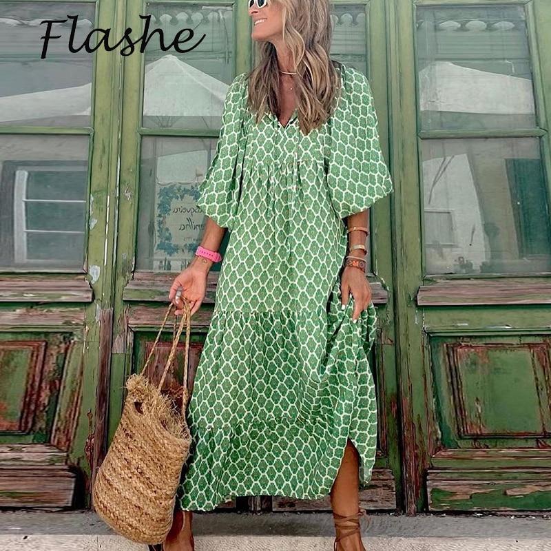 فساتين ماكسي للنساء مثير الخامس الرقبة فستان طويل نمط خمر مطبوعة بوهو ربيع الخريف أنيقة سيدة فساتين فضفاضة 2021