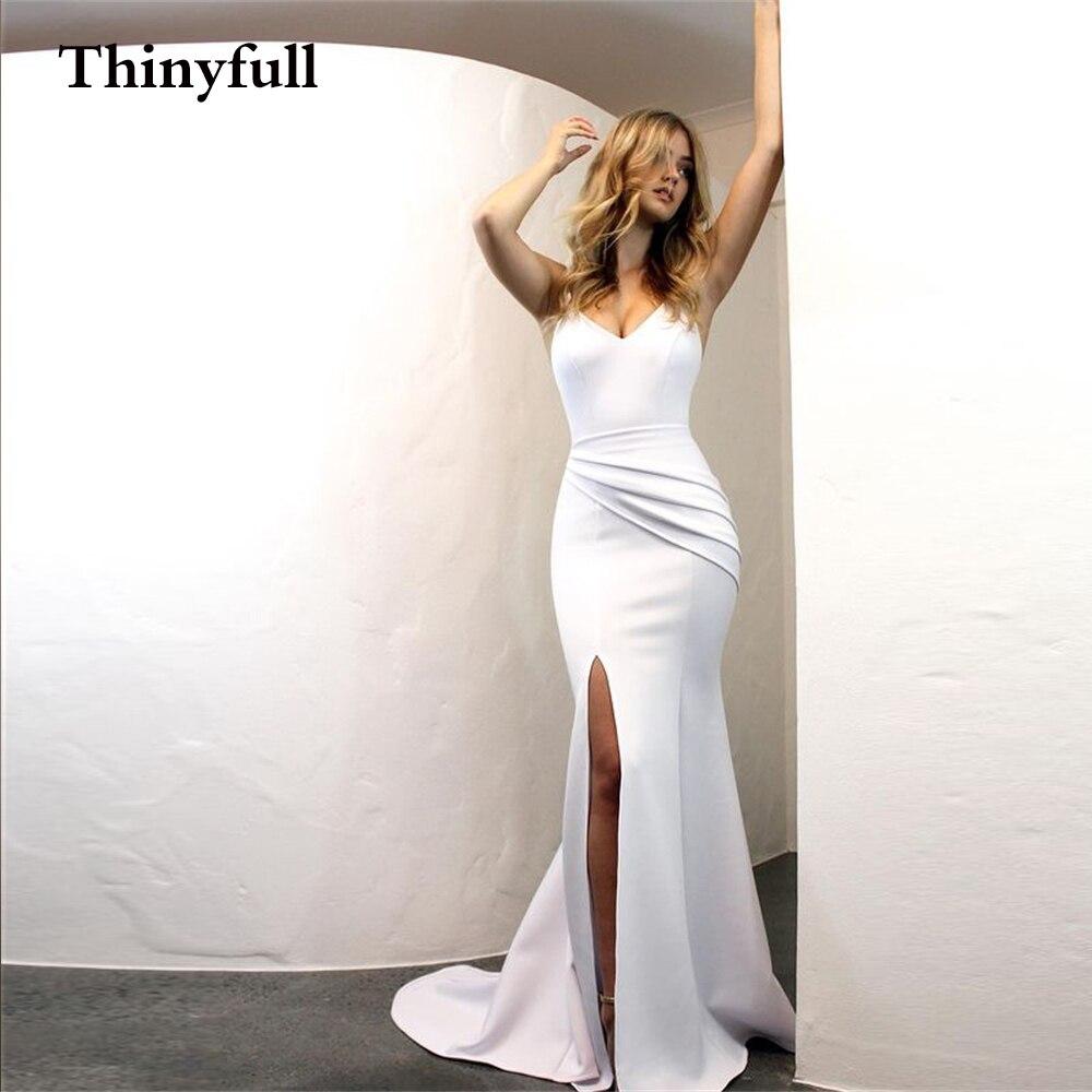 Get Elegant Mermaid Long Wedding Dress 2021 Sleeveless Sweatheart Front Slit Bride Gowns Vestido De Noiva Marriage Bridal Dresses