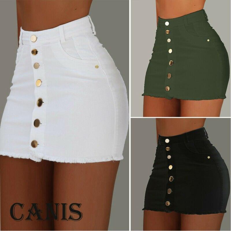 Женская джинсовая юбка-карандаш, брендовая однотонная эластичная короткая мини-юбка из денима, на пуговицах, с завышенной талией, на лето