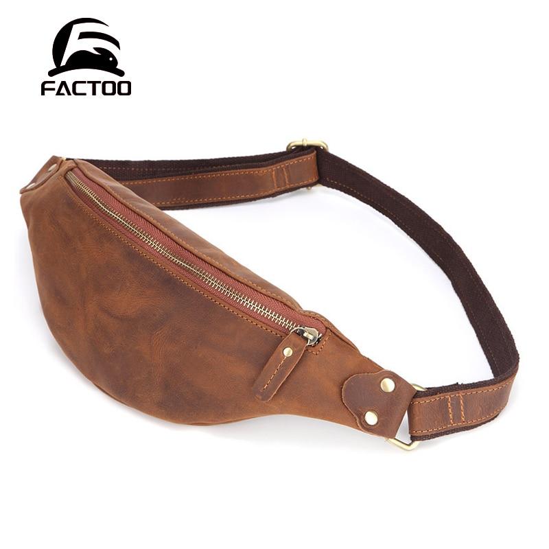 FACTOO Men's Waist Bag Shoulder Diagonal Bag Sports Small Bag Leather Zipper Wallet Casual   Retro Large Capacity Four Seasons