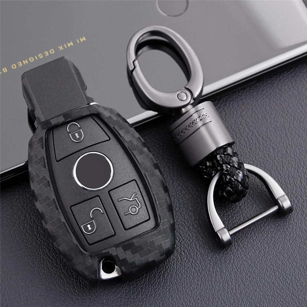 Carbon Fiber Car Key Bag Case For Mercedes Benz BGA AMG W203 W210 W211 W124 W202 W204 W205 W212 W176 Silicone Cover недорого