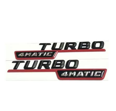 2 uds TURBO 4MATIC para Mercedes GLk ml 3D emblema insignia calcomanía tronco trasero cromo letras negro plata rojo colores