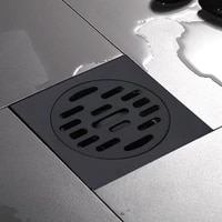 LASO     Drain de sol noir en acier inoxydable  10cm  carre  pour douche  pour salle de bains  cuisine