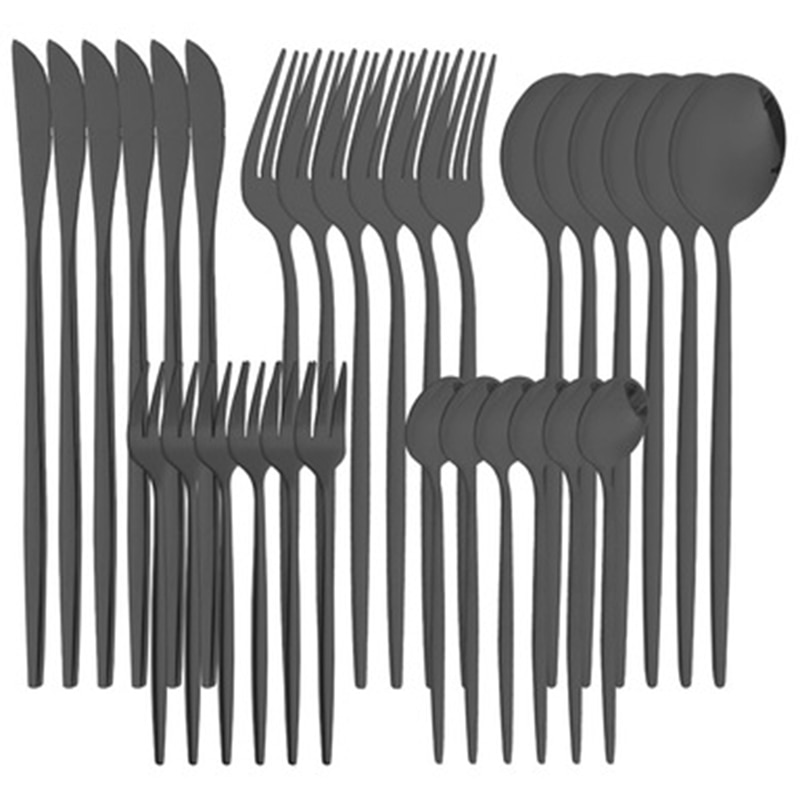 مجموعة أدوات المائدة الغربية الفولاذ المقاوم للصدأ والسكاكين ملعقة سوداء شوكة سكين السكاكين مجموعة كاملة من أدوات المائدة المنزلية