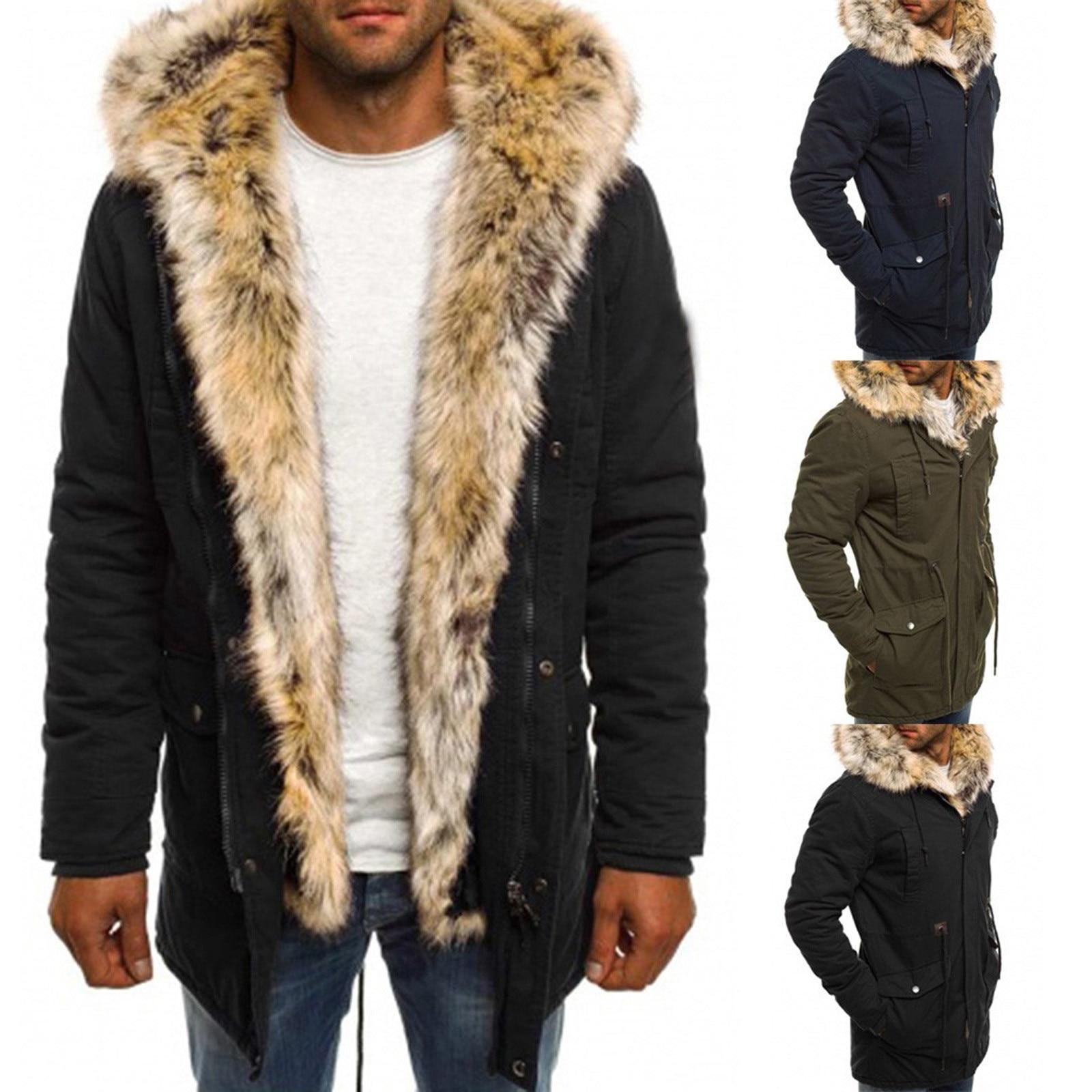 Новинка 2020, Мужская зимняя стильная модная ветрозащитная хлопковая куртка с меховым воротником, на молнии, с длинным рукавом, теплая куртка, парка, верхняя одежда 5