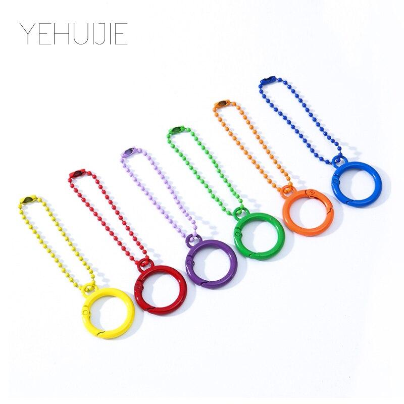 6 шт. металлическая цепочка для ключей, модное кольцо для автомобильных ключей, персонализированная сумка для ключей, DIY аксессуары для ювел...