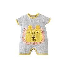 Одежда для новорожденных; Комбинезон для новорожденных девочек и мальчиков; Комбинезон с короткими рукавами и рисунком льва; Хлопчатобумаж...
