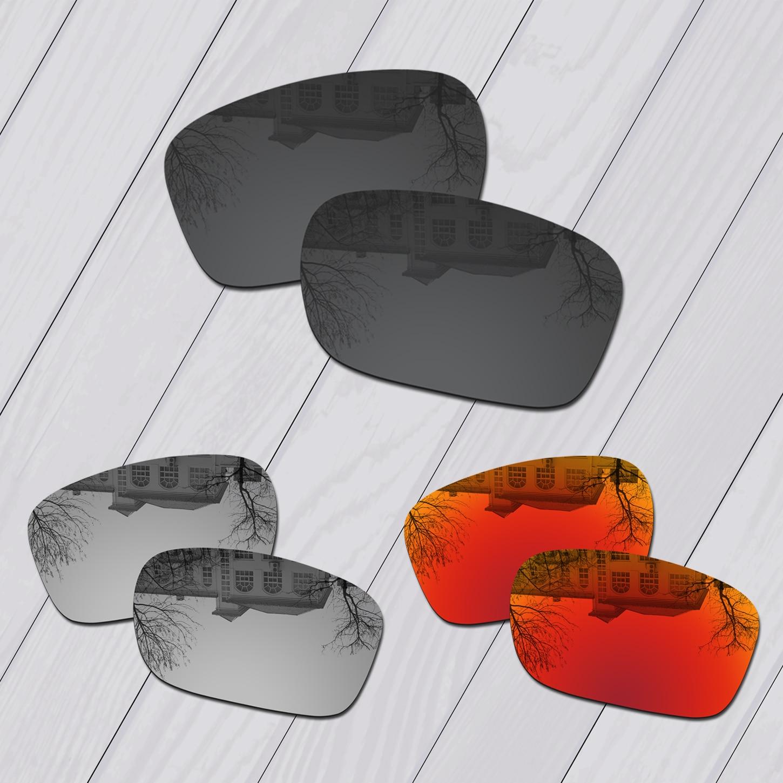 E. O.s 3 pares, negro y plateado y rojo fuego, lentes de repuesto polarizadas para gafas de sol Oakley Holbrook