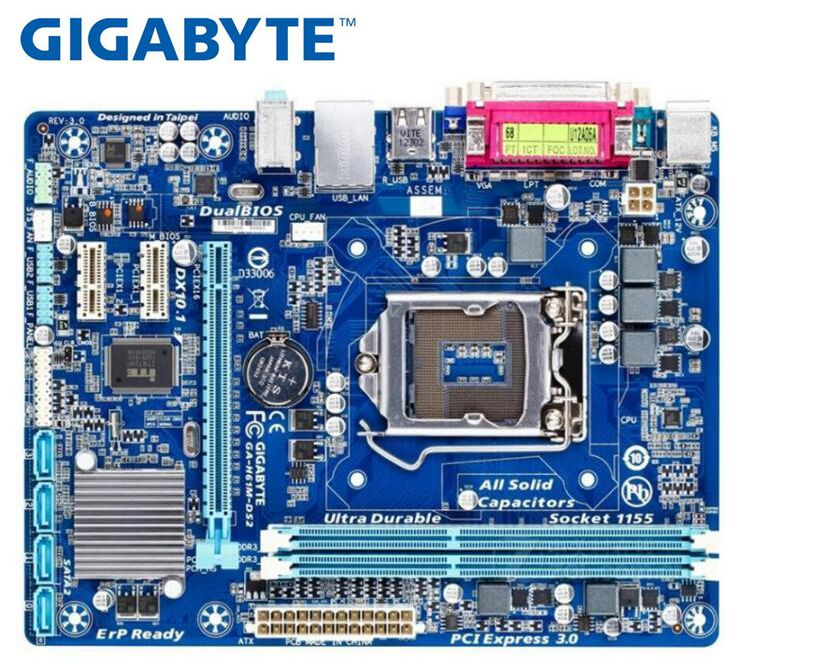 GIGABYTE GA-H61M-DS2 שולחן העבודה האם H61 Socket LGA 1155 i3 i5 i7 DDR3 16G uATX UEFI BIOS המקורי H61M-DS2 לוח