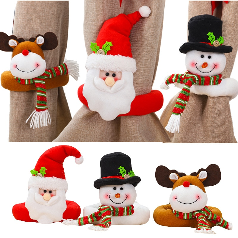 Christmas Ornaments Doll Decorations for Home Room Decor Curtain Buckle New Years Navidad 2021 Noel
