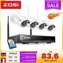 ZOSI Беспроводной 1080P NVR комплект видеонаблюдения H.265 + на 8 каналов с 2Mп наружными WiFi IP камерами с IR-CUT