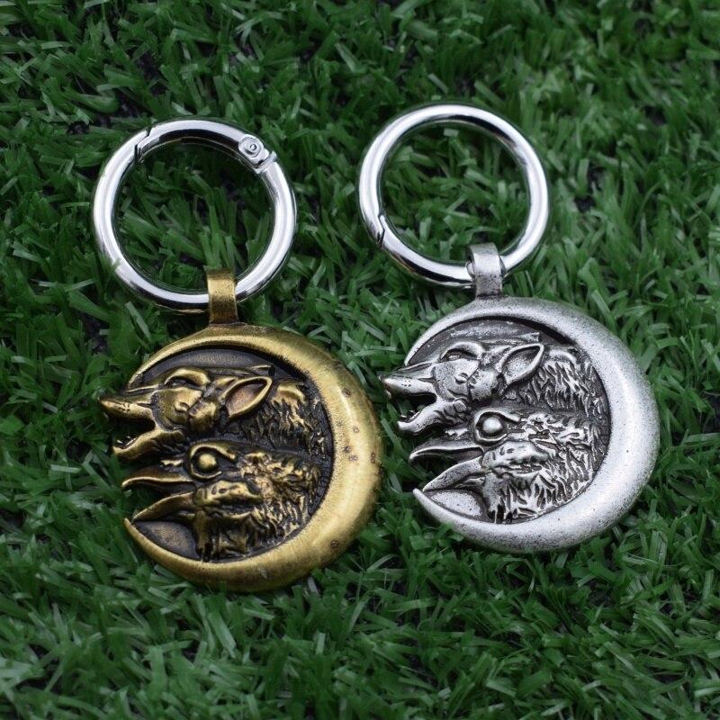 12 sztuk Norse Viking wilk i kruk brelok wilk wrona brelok biżuteria Amulet prezent dla mężczyzn