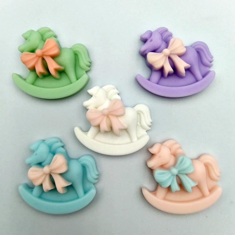 10pcs  Cute Resin Little Rocking Horse Flatback Cabochon Miniature Art DIY Craft Scrapbooking cabochons accessories new arrival