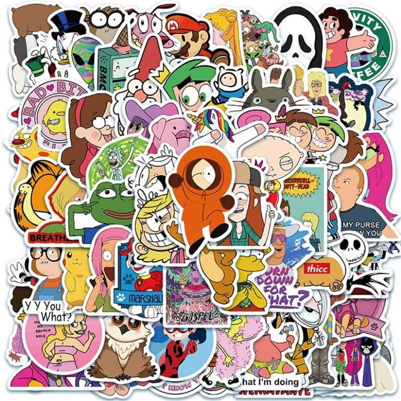 10/30/50PCS Classic Cartoon Animation Graffiti Car Helmet Motorcycle Refrigerator Luggage Notebook Sticker Toys Wholesale