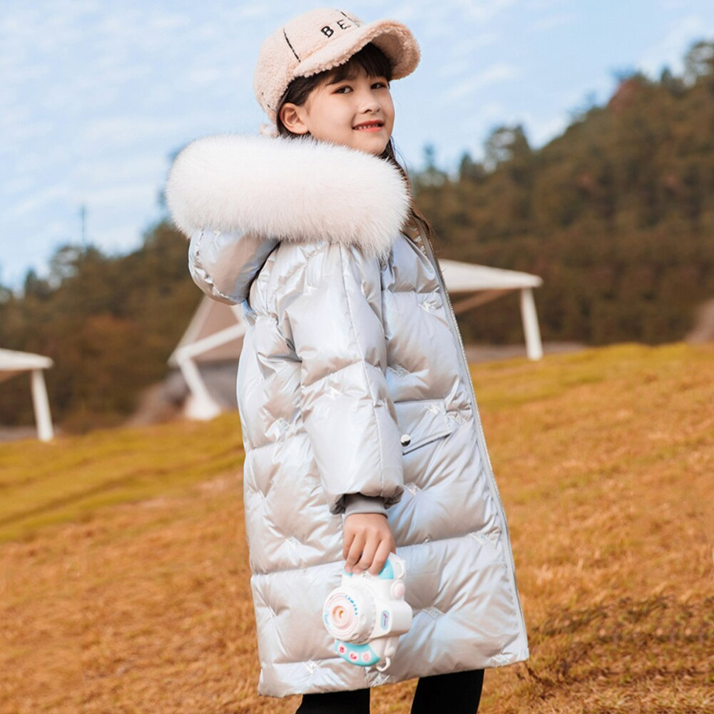 Long Down Coat Puffer Jacket for Girls Loose Overcoat Thicken Winter Outerwear Kids Casual Hooded Snowsuit Windproof Clothes enlarge