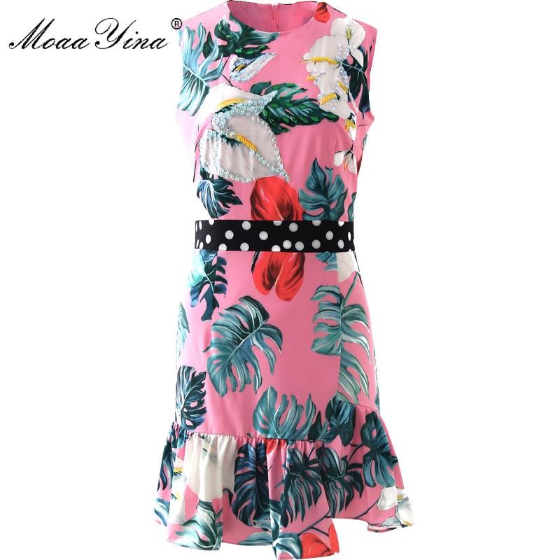MoaaYina Fashion Runway dress Spring Summer Womens Dress Sleeveless Green leaf Print Sequins Beaded Mermaid Dresses