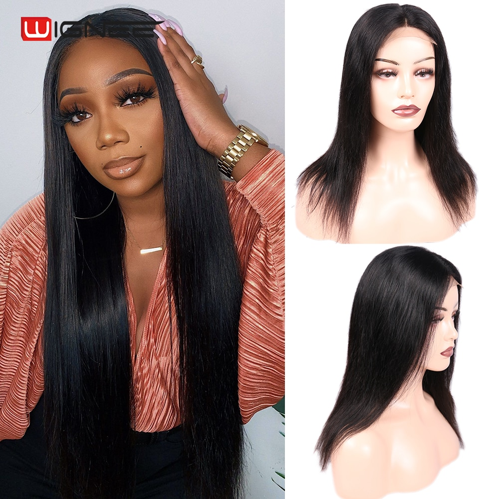 AliExpress - Wignee 4×4 Lace Closure Straight Wig Lace Frontal Closure Human Hair Wig Brazilian Hair For Woman Natural Hairline Closure Wig